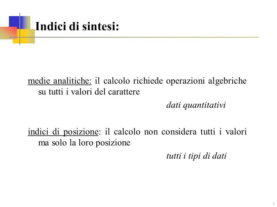Indici di sintesi: medie analitiche: il calcolo richiede operazioni algebriche su tutti i valori del carattere.