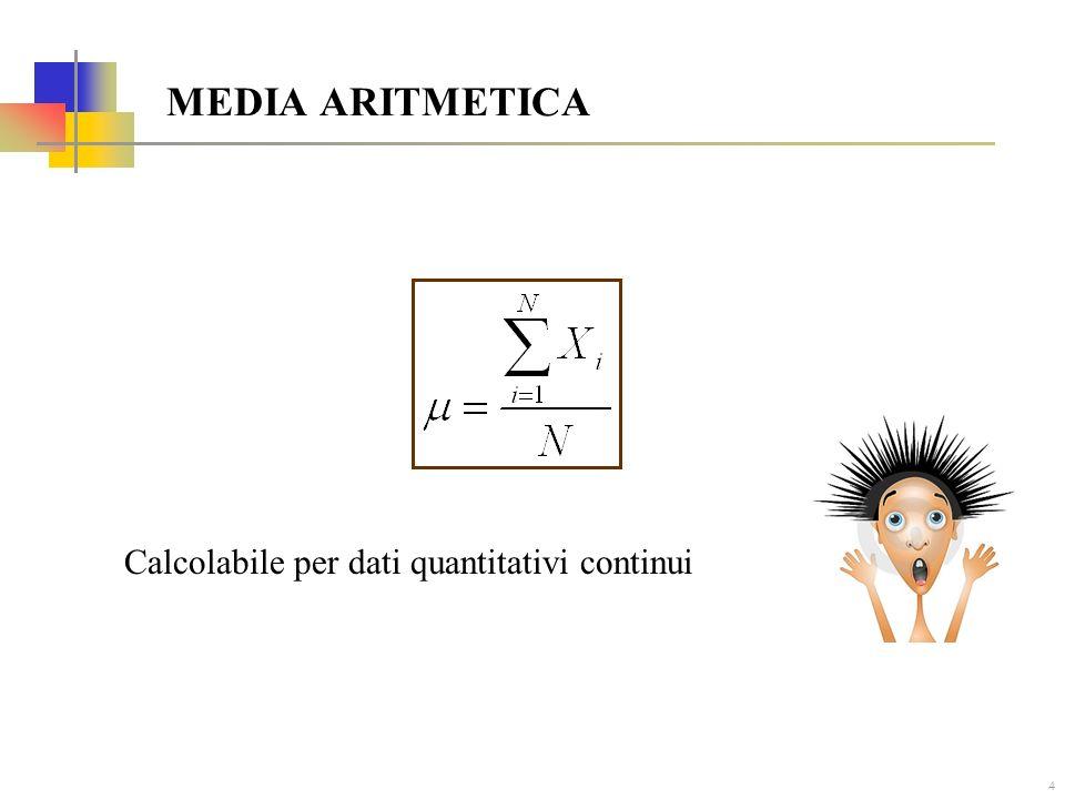 MEDIA ARITMETICA Calcolabile per dati quantitativi continui
