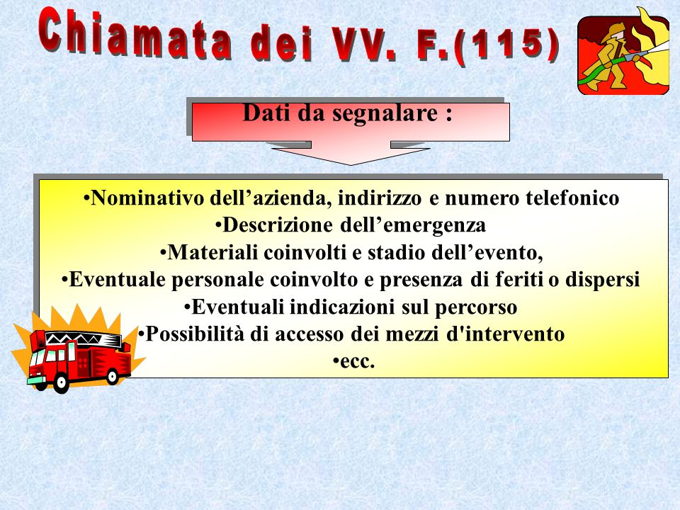 Chiamata dei VV. F.(115) Dati da segnalare :