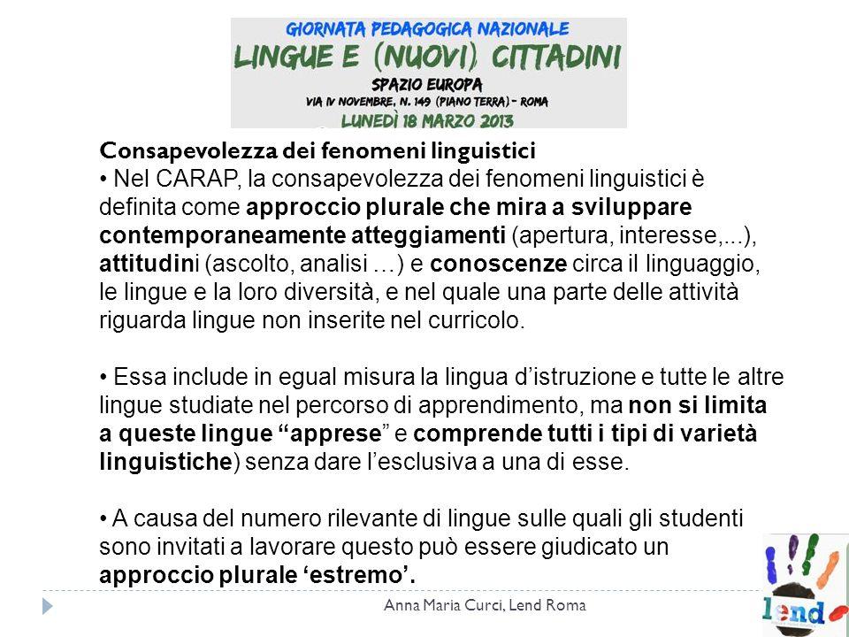 Consapevolezza dei fenomeni linguistici