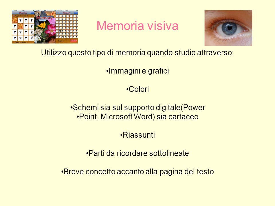 Memoria visiva Utilizzo questo tipo di memoria quando studio attraverso: Immagini e grafici. Colori.