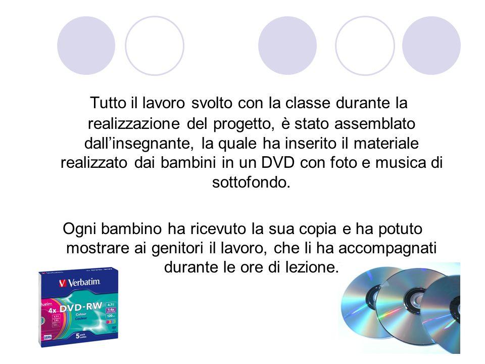 Tutto il lavoro svolto con la classe durante la realizzazione del progetto, è stato assemblato dall'insegnante, la quale ha inserito il materiale realizzato dai bambini in un DVD con foto e musica di sottofondo.