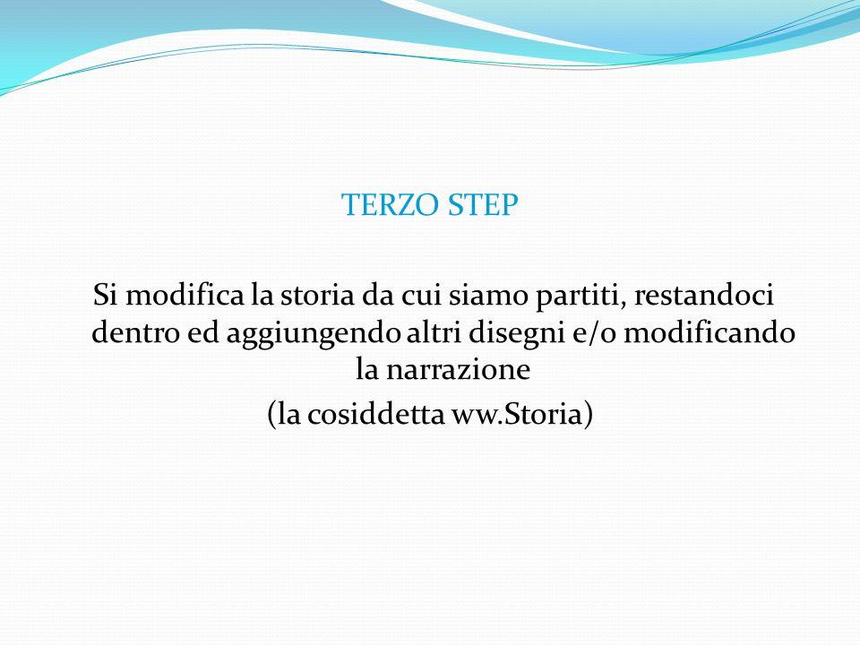 TERZO STEP Si modifica la storia da cui siamo partiti, restandoci dentro ed aggiungendo altri disegni e/o modificando la narrazione (la cosiddetta ww.Storia)