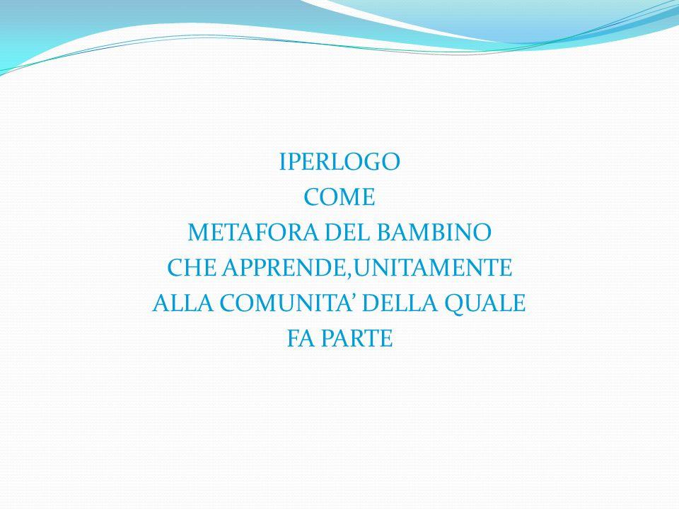 IPERLOGO COME METAFORA DEL BAMBINO CHE APPRENDE,UNITAMENTE ALLA COMUNITA' DELLA QUALE FA PARTE