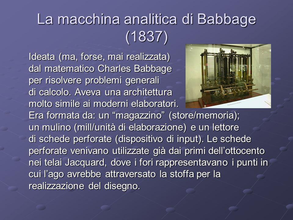 La macchina analitica di Babbage (1837)