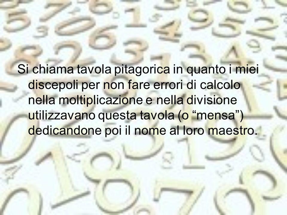 Si chiama tavola pitagorica in quanto i miei discepoli per non fare errori di calcolo nella moltiplicazione e nella divisione utilizzavano questa tavola (o mensa ) dedicandone poi il nome al loro maestro.