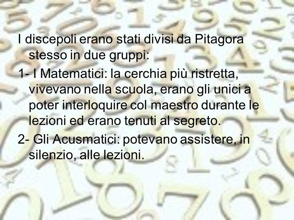 I discepoli erano stati divisi da Pitagora stesso in due gruppi: