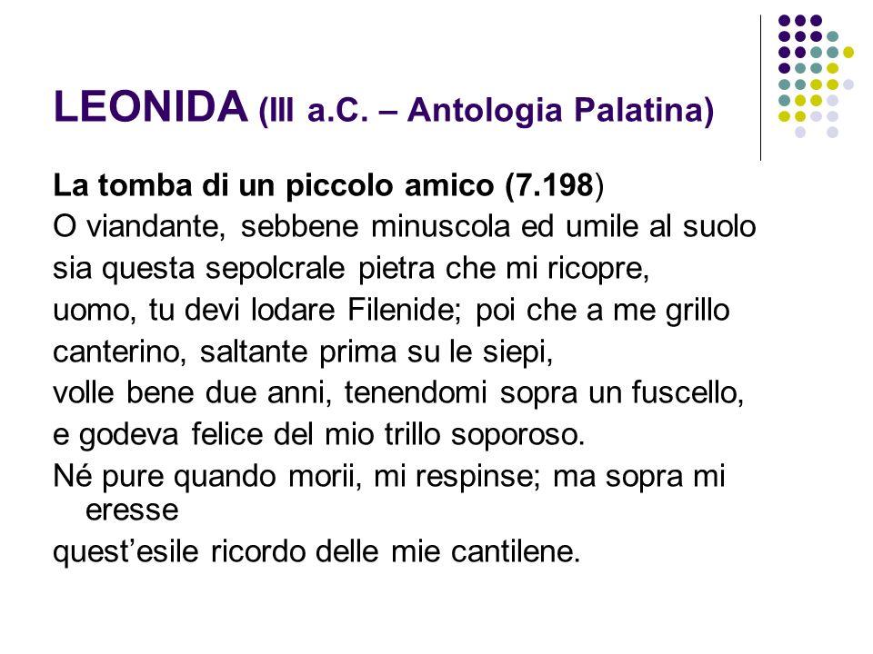 LEONIDA (III a.C. – Antologia Palatina)