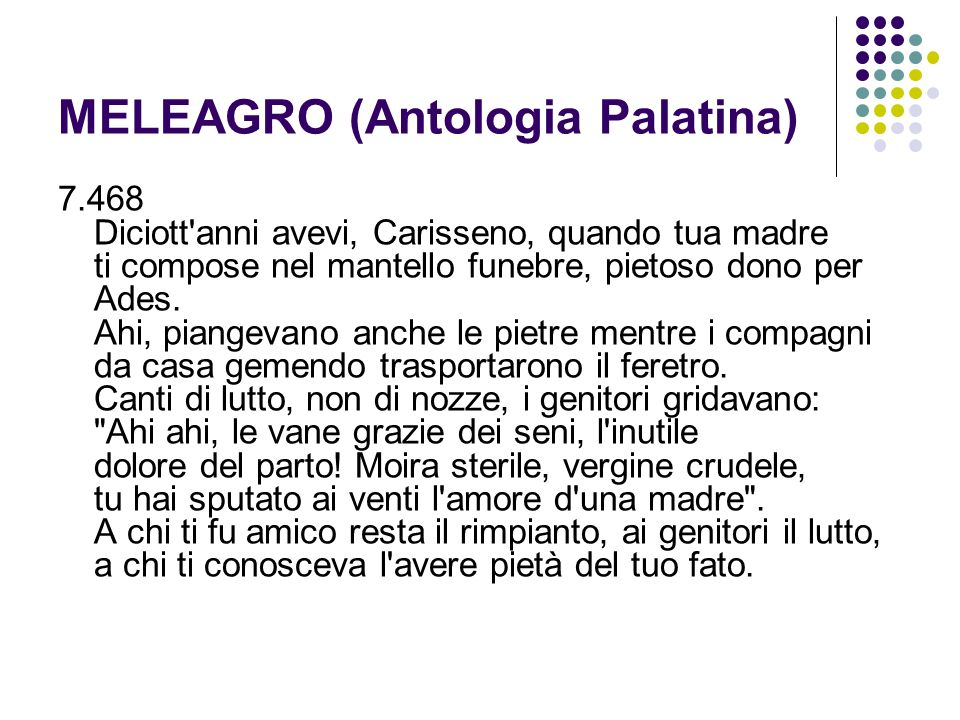 MELEAGRO (Antologia Palatina)