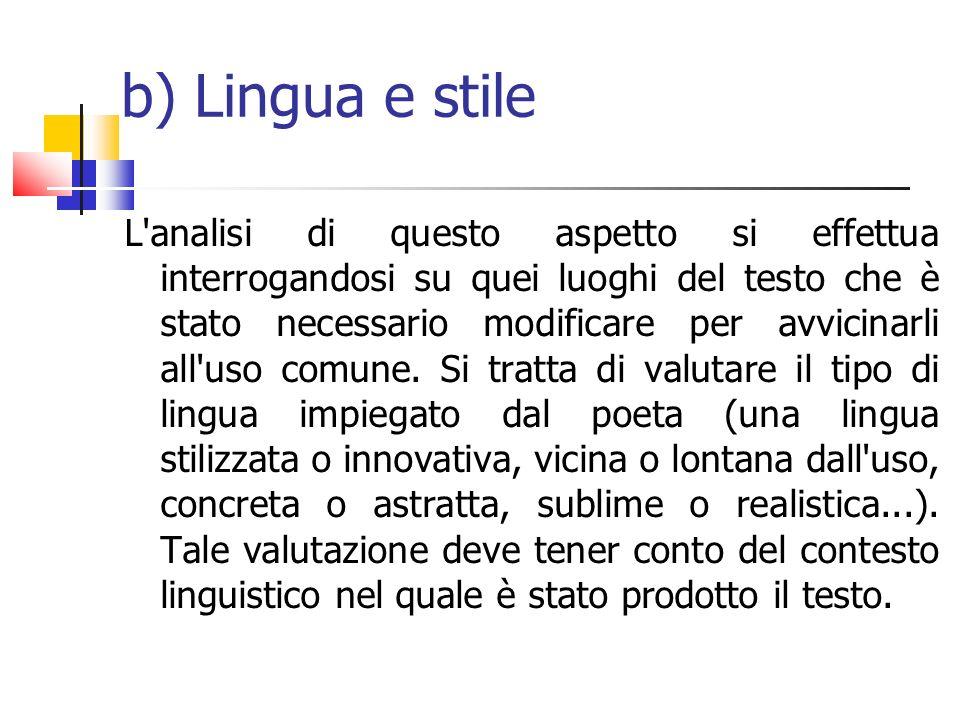 b) Lingua e stile