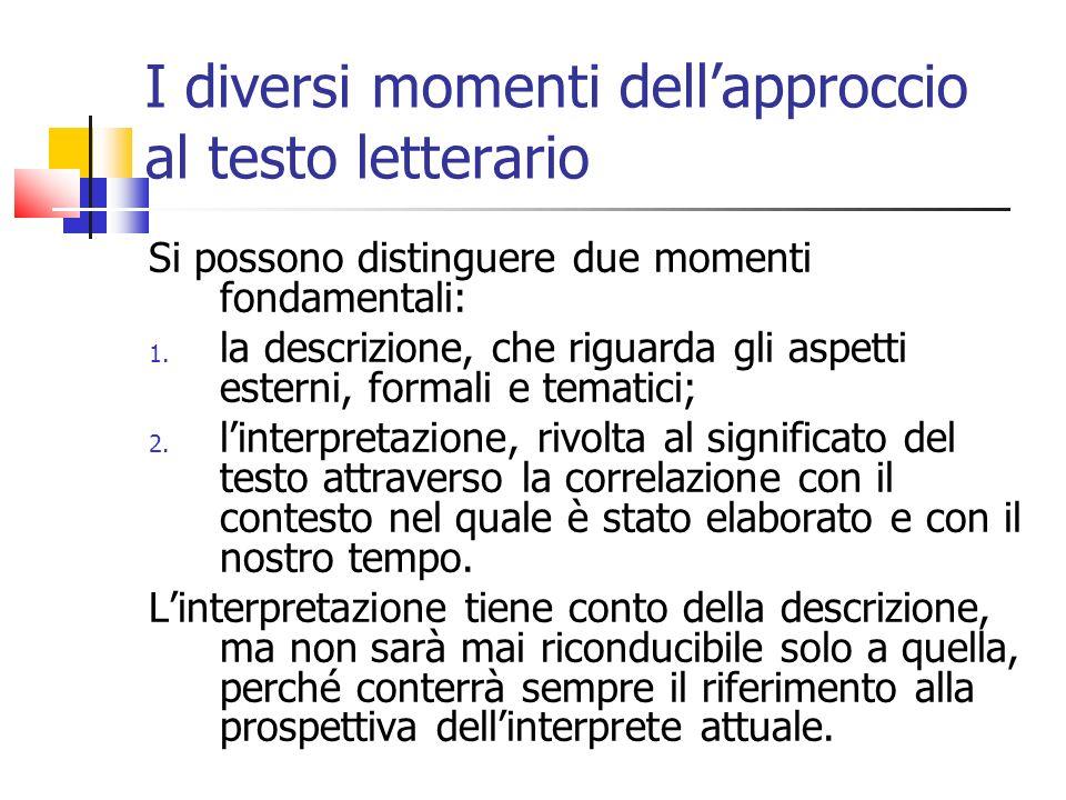 I diversi momenti dell'approccio al testo letterario