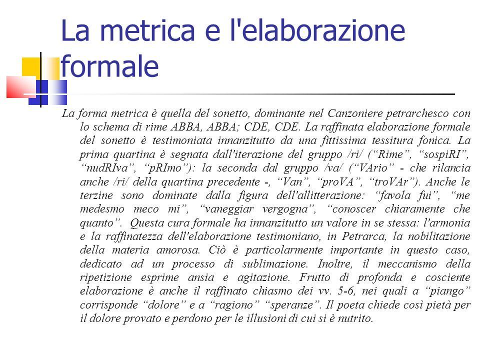 La metrica e l elaborazione formale