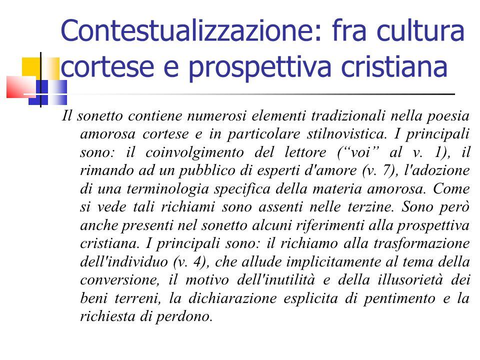Contestualizzazione: fra cultura cortese e prospettiva cristiana