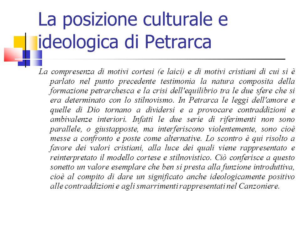 La posizione culturale e ideologica di Petrarca