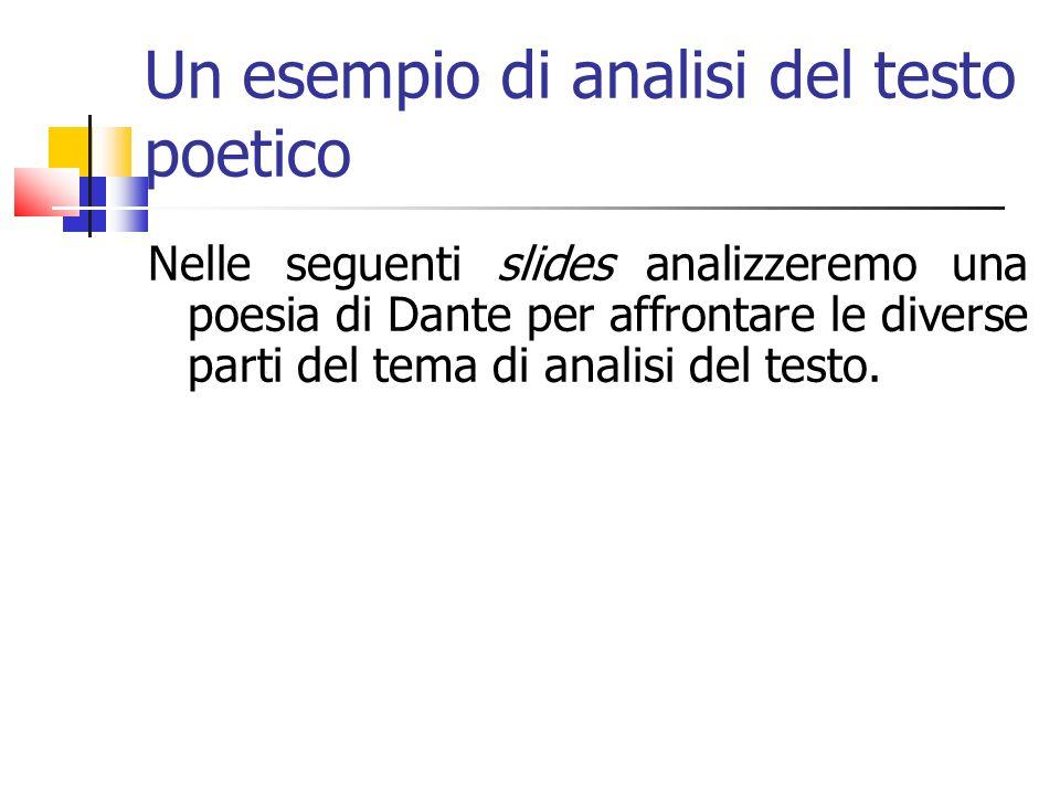 Un esempio di analisi del testo poetico