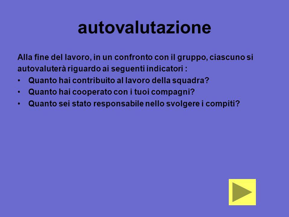 autovalutazione Alla fine del lavoro, in un confronto con il gruppo, ciascuno si. autovaluterà riguardo ai seguenti indicatori :