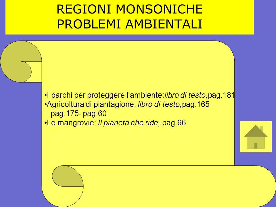 REGIONI MONSONICHE PROBLEMI AMBIENTALI