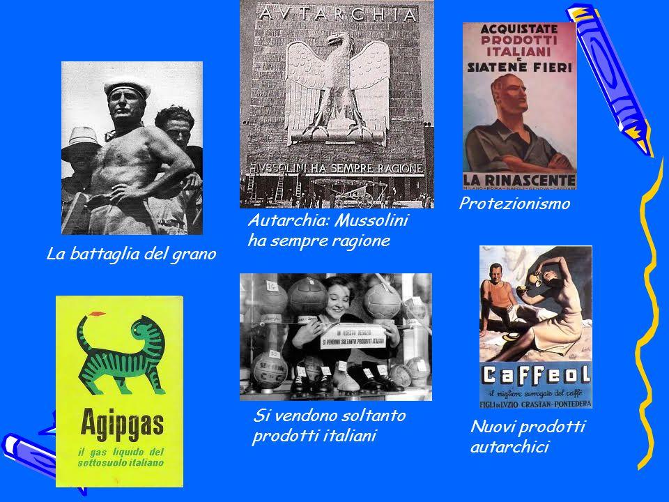 Protezionismo Autarchia: Mussolini ha sempre ragione. La battaglia del grano. Si vendono soltanto prodotti italiani.