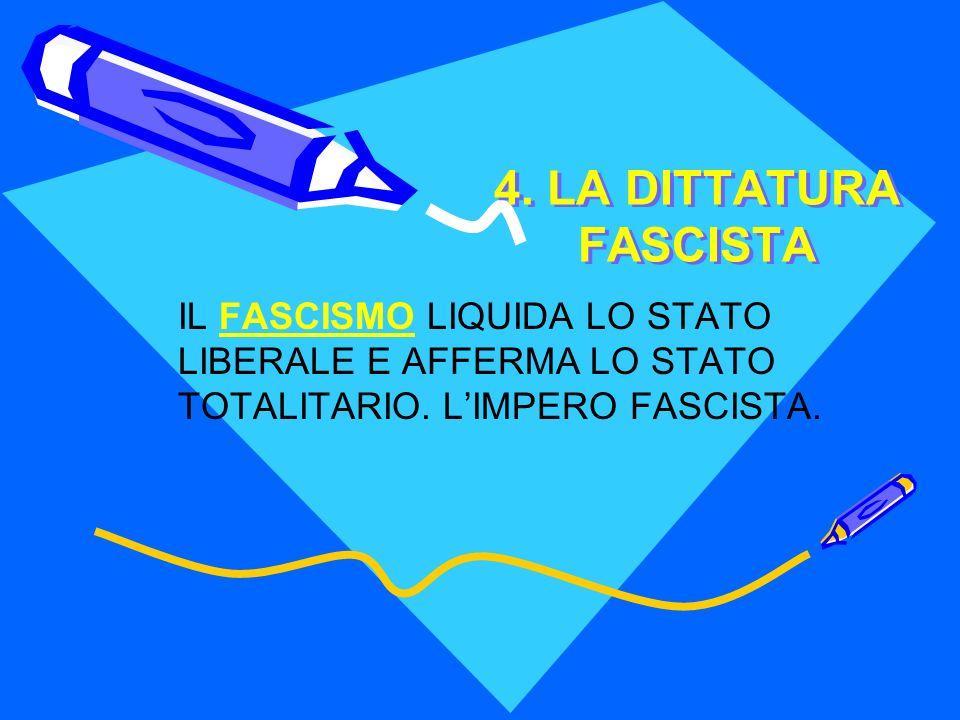 4. LA DITTATURA FASCISTA IL FASCISMO LIQUIDA LO STATO LIBERALE E AFFERMA LO STATO TOTALITARIO.