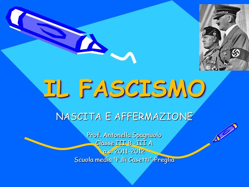IL FASCISMO NASCITA E AFFERMAZIONE Prof. Antonella Spagnuolo