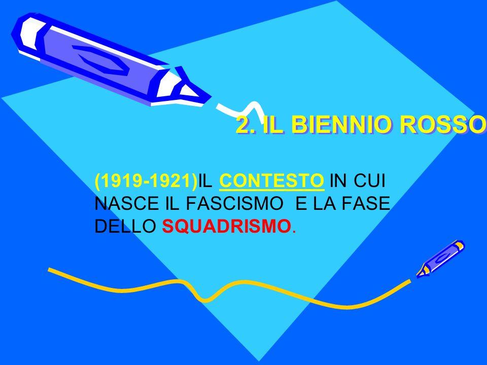 2. IL BIENNIO ROSSO (1919-1921)IL CONTESTO IN CUI NASCE IL FASCISMO E LA FASE DELLO SQUADRISMO.
