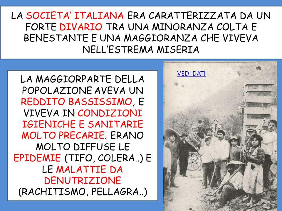 LA SOCIETA' ITALIANA ERA CARATTERIZZATA DA UN FORTE DIVARIO TRA UNA MINORANZA COLTA E BENESTANTE E UNA MAGGIORANZA CHE VIVEVA NELL'ESTREMA MISERIA