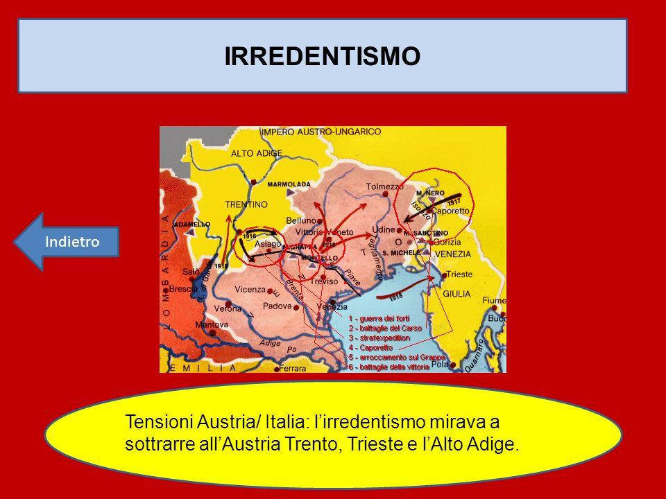 IRREDENTISMO Tensioni Austria/ Italia: l'irredentismo mirava a