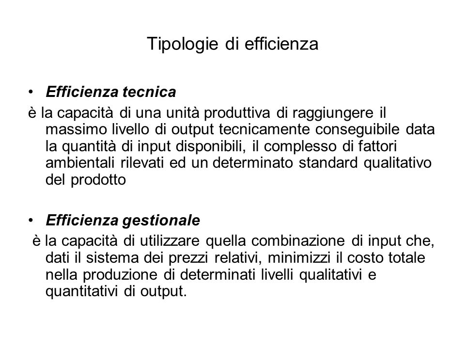 Tipologie di efficienza