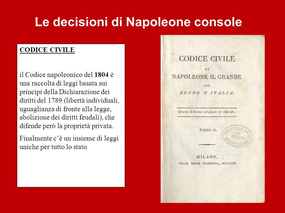 Le decisioni di Napoleone console