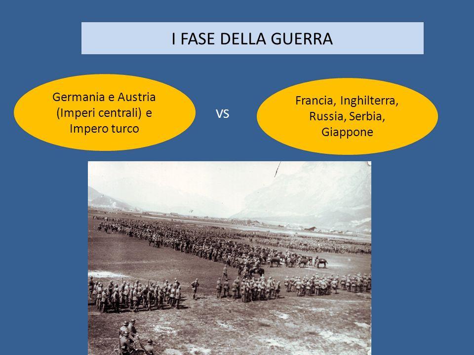 I FASE DELLA GUERRA Germania e Austria (Imperi centrali) e Impero turco. Francia, Inghilterra, Russia, Serbia, Giappone.