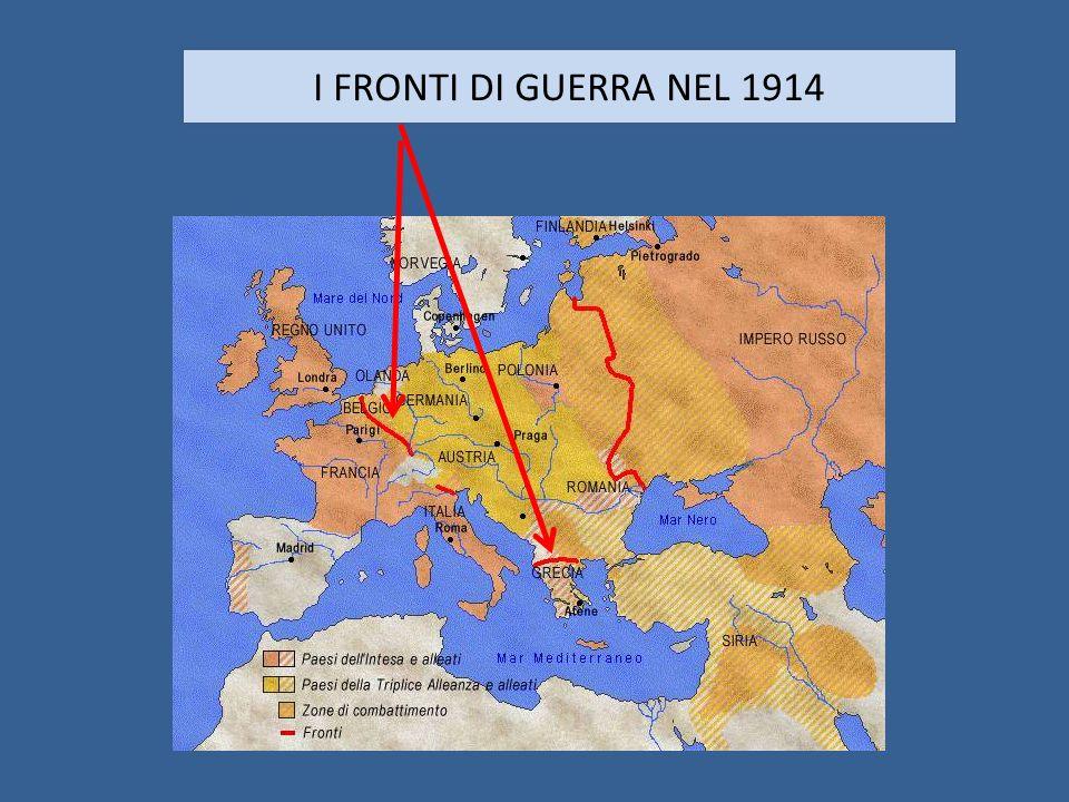 I FRONTI DI GUERRA NEL 1914