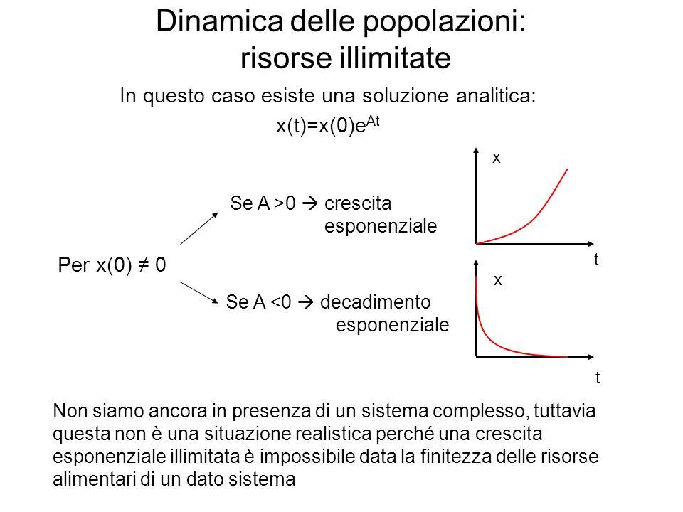 Dinamica delle popolazioni: risorse illimitate