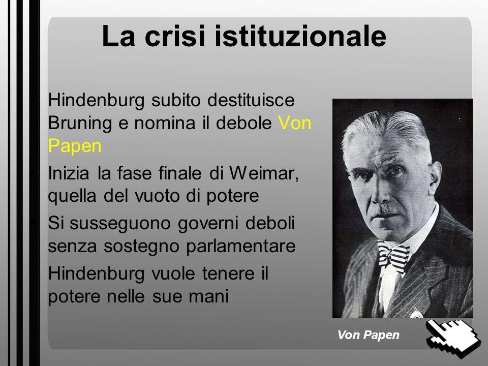 La crisi istituzionale
