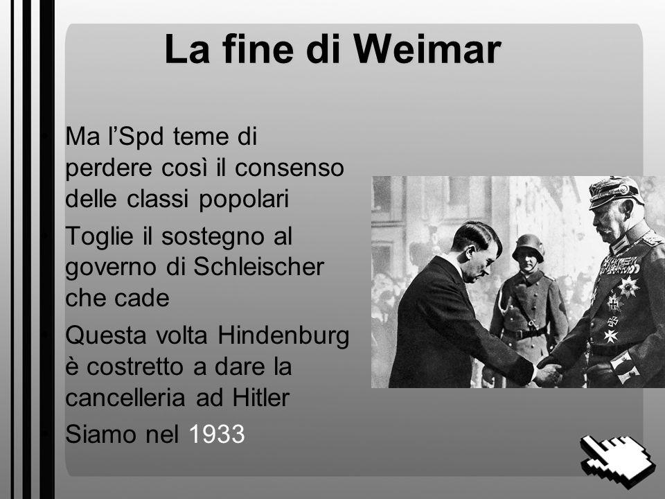 La fine di Weimar Ma l'Spd teme di perdere così il consenso delle classi popolari. Toglie il sostegno al governo di Schleischer che cade.
