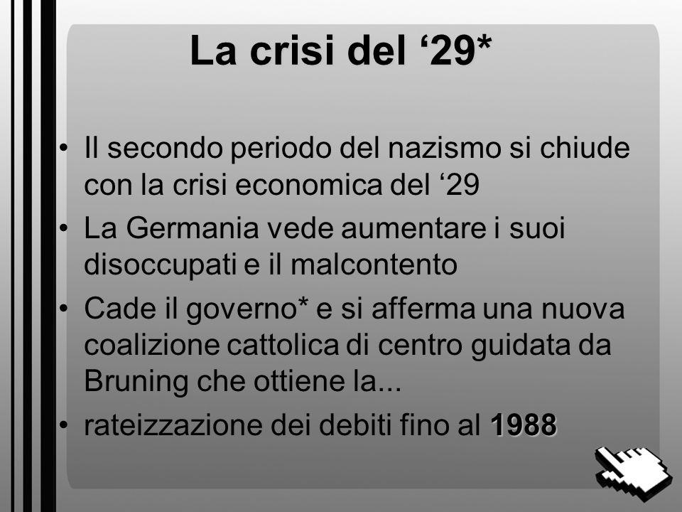 La crisi del '29* Il secondo periodo del nazismo si chiude con la crisi economica del '29.