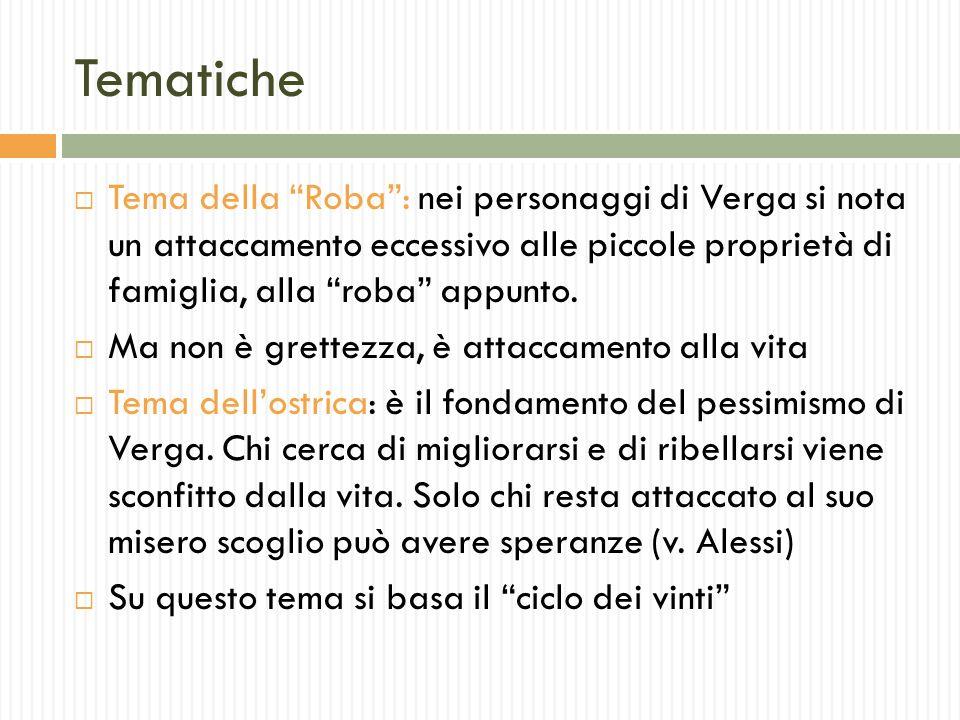 Tematiche Tema della Roba : nei personaggi di Verga si nota un attaccamento eccessivo alle piccole proprietà di famiglia, alla roba appunto.