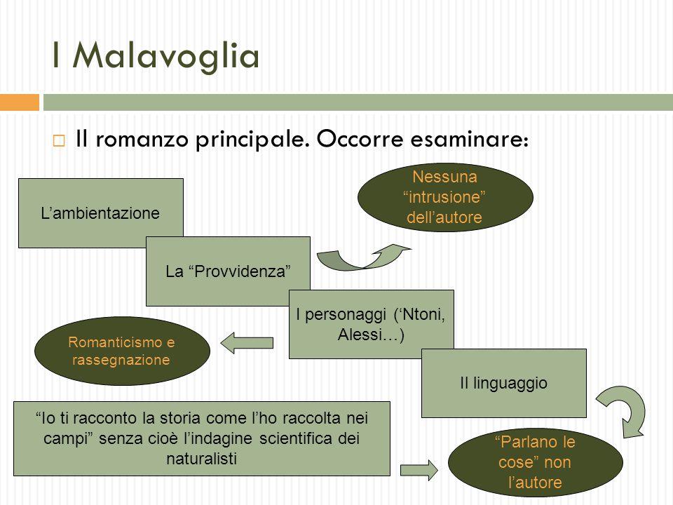 I Malavoglia Il romanzo principale. Occorre esaminare: