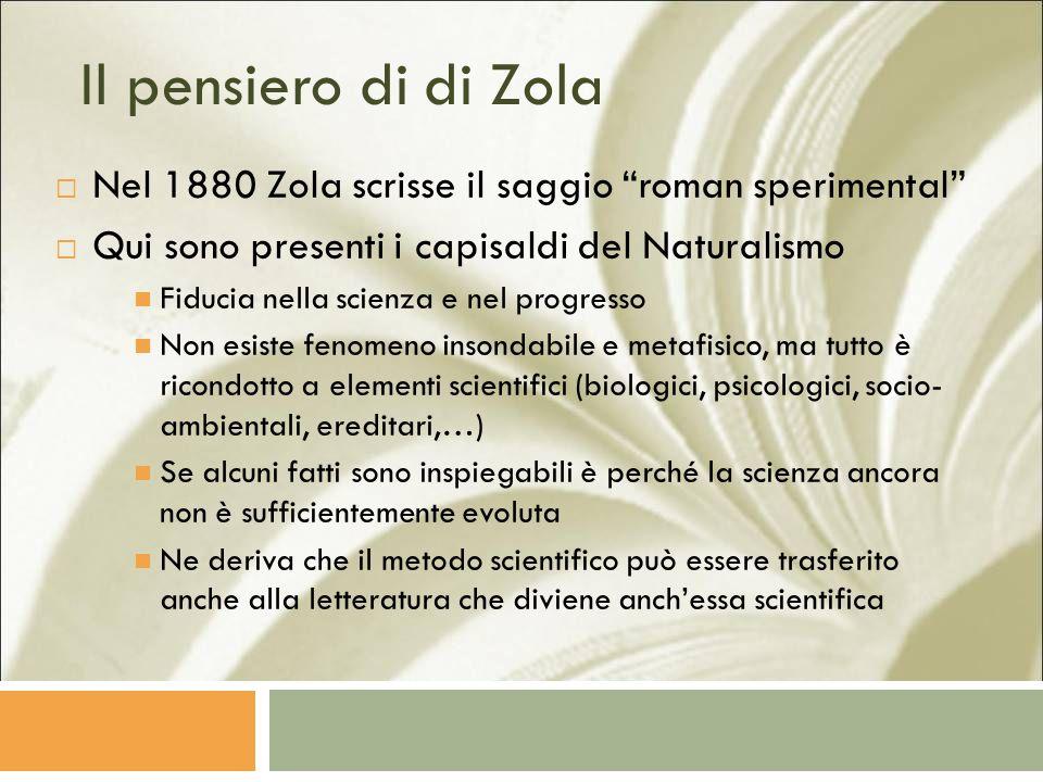 Il pensiero di di Zola Nel 1880 Zola scrisse il saggio roman sperimental Qui sono presenti i capisaldi del Naturalismo.