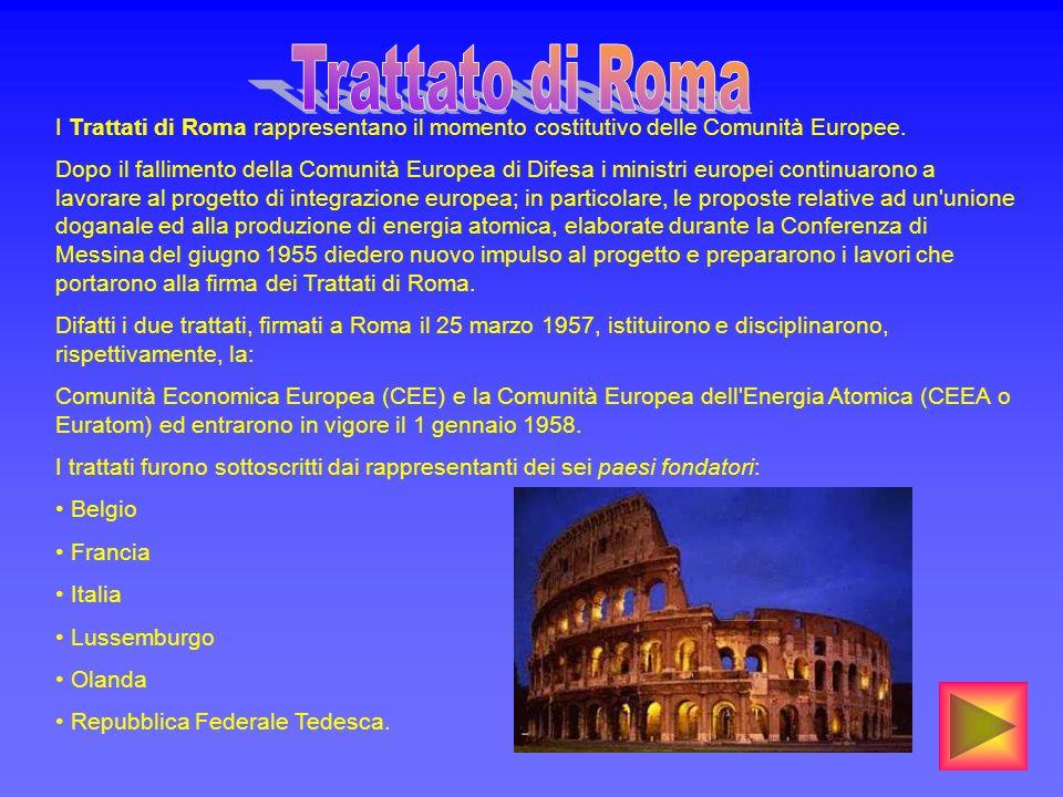 Trattato di Roma I Trattati di Roma rappresentano il momento costitutivo delle Comunità Europee.
