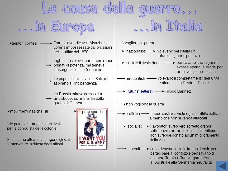 Le cause della guerra... ...in Europa ...in Italia