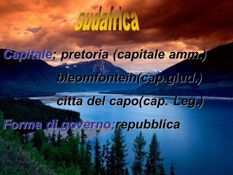 sudafrica Capitale; pretoria (capitale amm.) bleomfontein(cap.giud.)