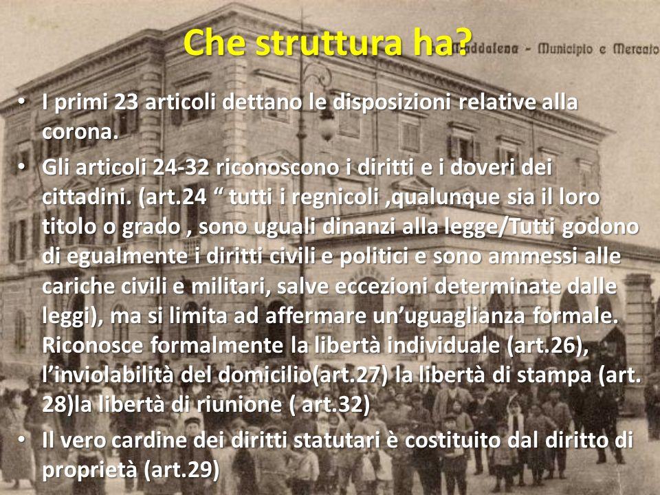Che struttura ha I primi 23 articoli dettano le disposizioni relative alla corona.
