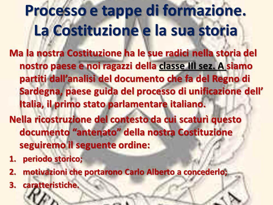 Processo e tappe di formazione. La Costituzione e la sua storia