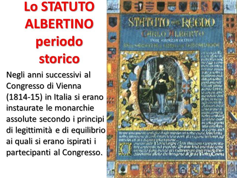 Lo STATUTO ALBERTINO periodo storico