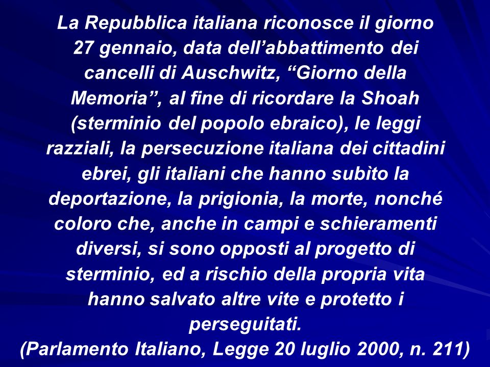 La Repubblica italiana riconosce il giorno
