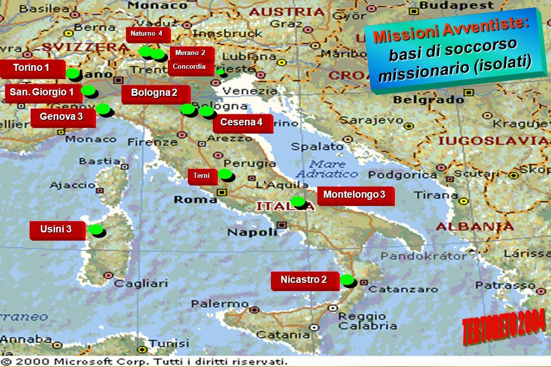 Missioni Avventiste: basi di soccorso missionario (isolati)