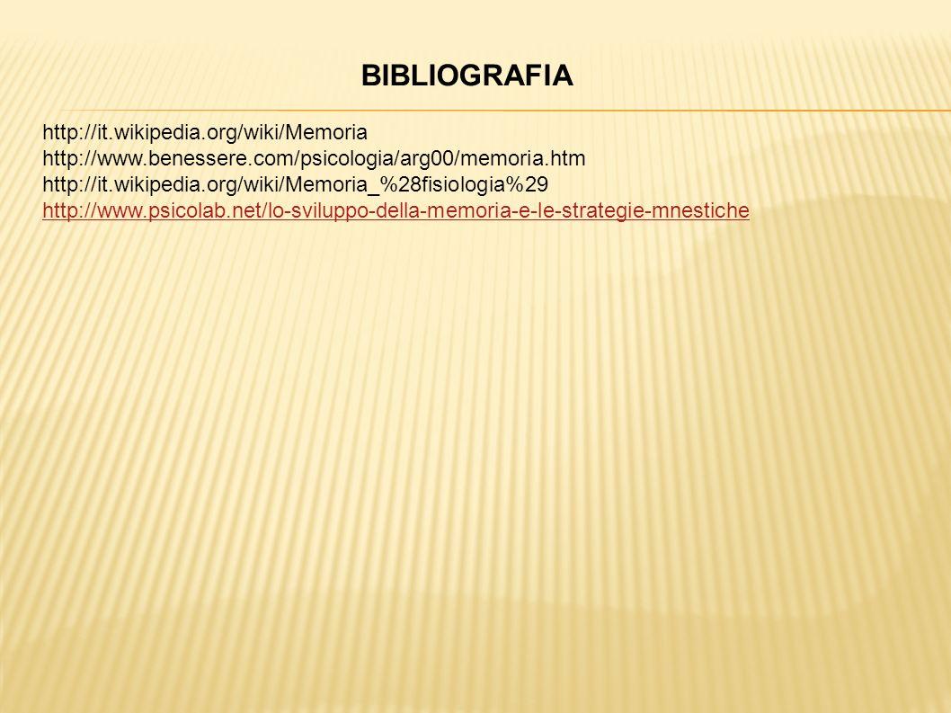 BIBLIOGRAFIA http://it.wikipedia.org/wiki/Memoria
