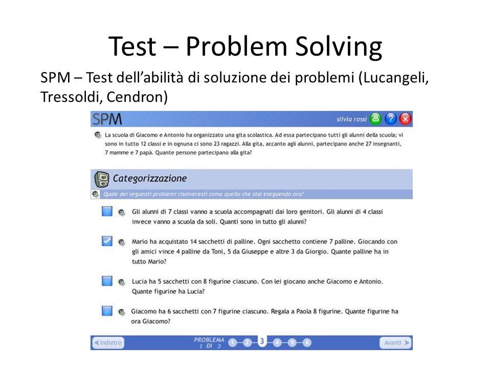 Test – Problem Solving SPM – Test dell'abilità di soluzione dei problemi (Lucangeli, Tressoldi, Cendron)