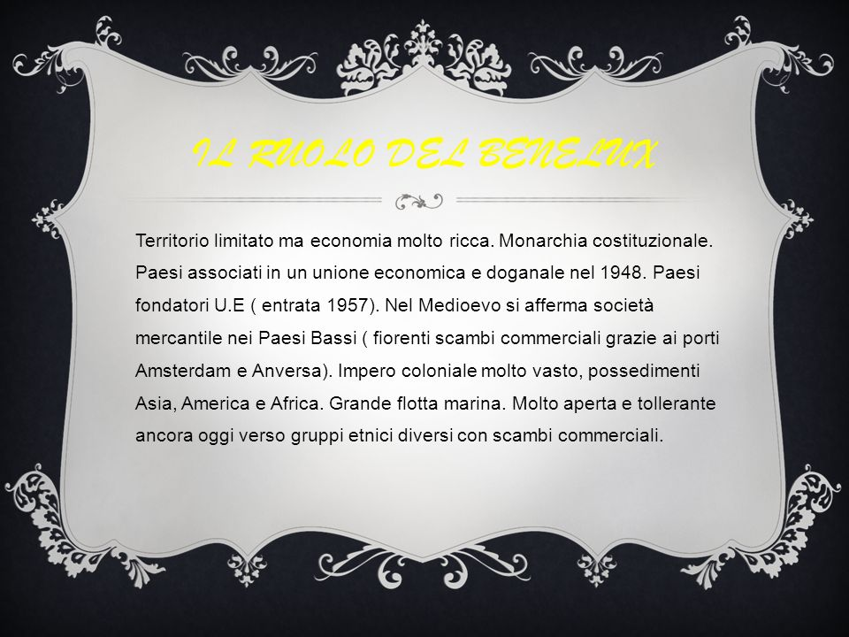 IL RUOLO DEL BENELUX