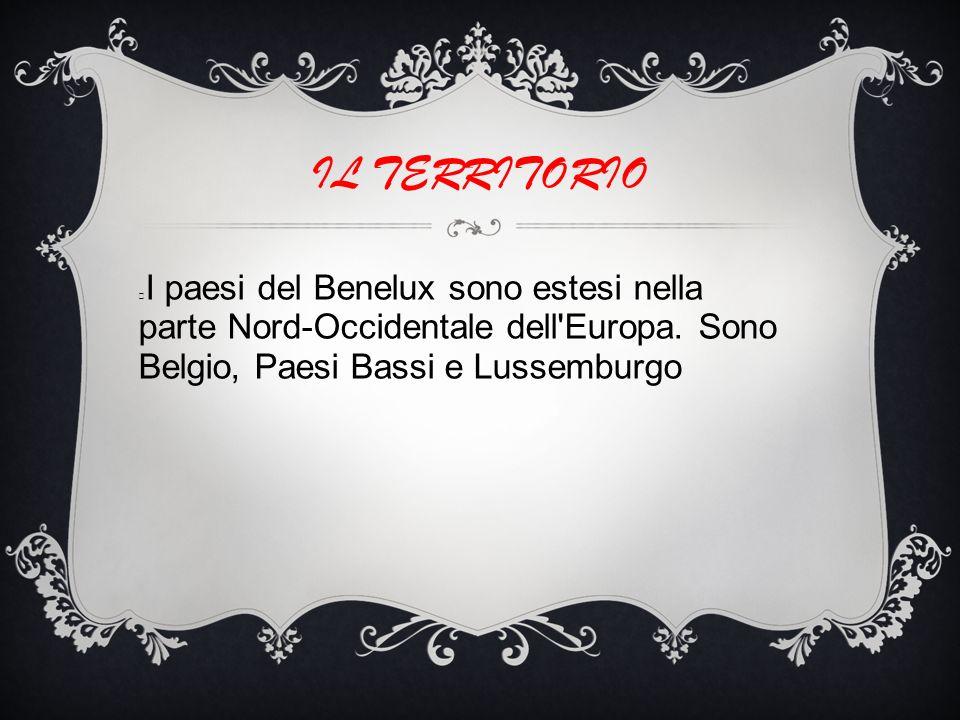 IL TERRITORIO I paesi del Benelux sono estesi nella parte Nord-Occidentale dell Europa. Sono Belgio, Paesi Bassi e Lussemburgo.